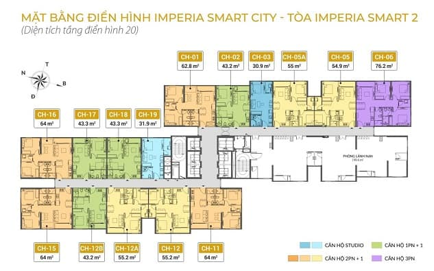 Mặt bằng tầng 20 Imperia Smart City 2