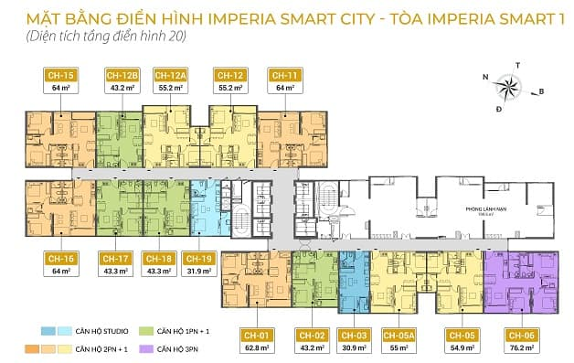 Mặt bằng tầng 20 Imperia Smart City 1